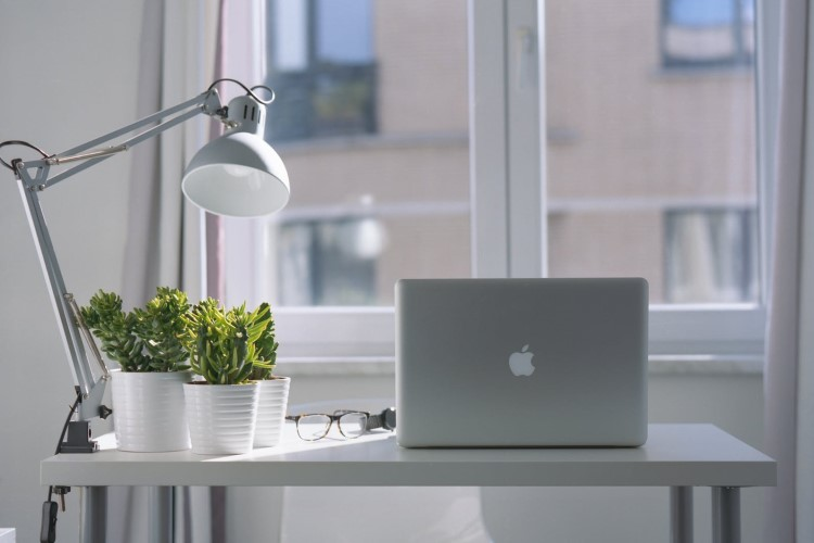 Image of apple notebook on table with light and table plants   Featured image for create your perfect study space.