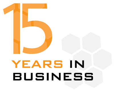 15 years in business about logo.