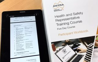 Astra Health and Safety Representative Training Course workbook image.